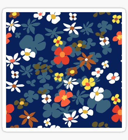 New Floral Blue Glossy Sticker