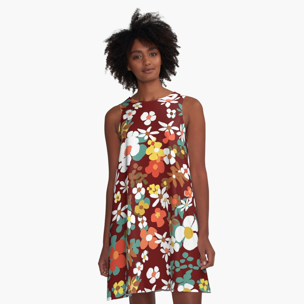 New Floral Red A-Line Dress