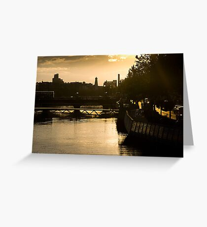 Golden Sunset Over the River Liffey Greeting Card