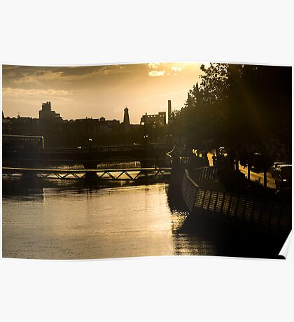 Golden Sunset Over the River Liffey Poster