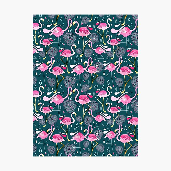 pattern with flamingos  Photographic Print