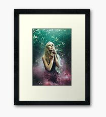 Girl in purle smoke - Framed Print