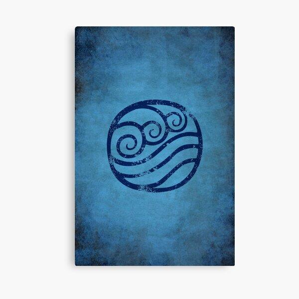 Waterbending Logo · Distressed Canvas Print