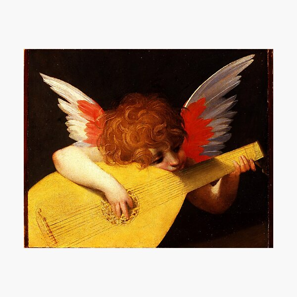 MUSIC MAKING LITTLE ANGEL Winged Cherub Playing Lute Photographic Print