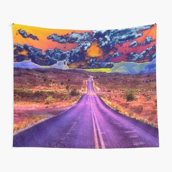 Psychedelic Road Scene Tapestry