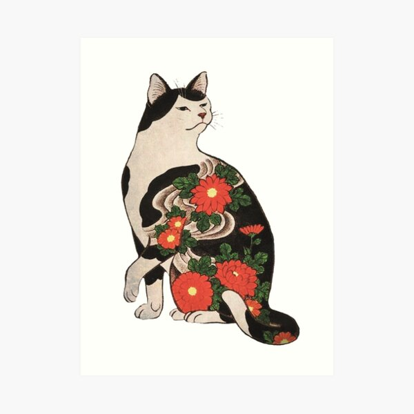 Antique Japanese Woodblock Print Cat with Flower Tattoos Art Print