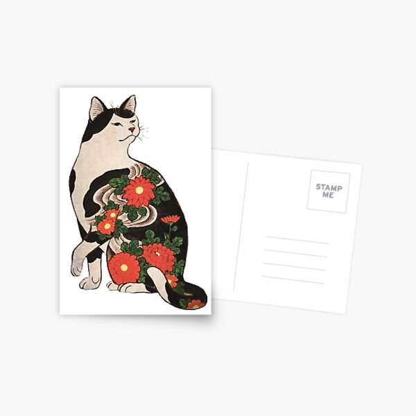 Antique Japanese Woodblock Print Cat with Flower Tattoos Postcard