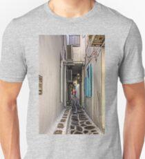 Narrow Lane in Mykonos Unisex T-Shirt