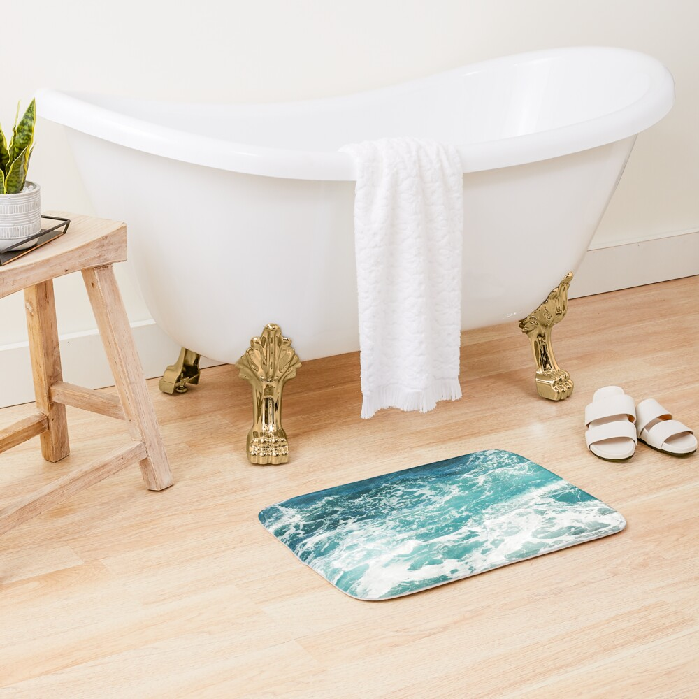Blue Ocean Waves  Bath Mat