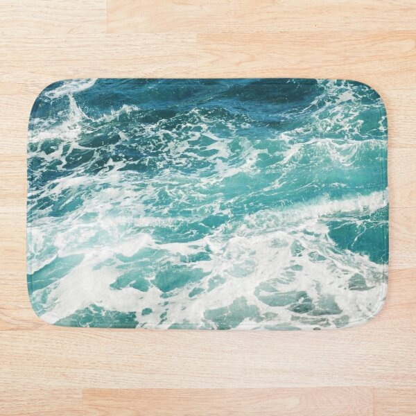 Blue Ocean Waves  Bath Mat