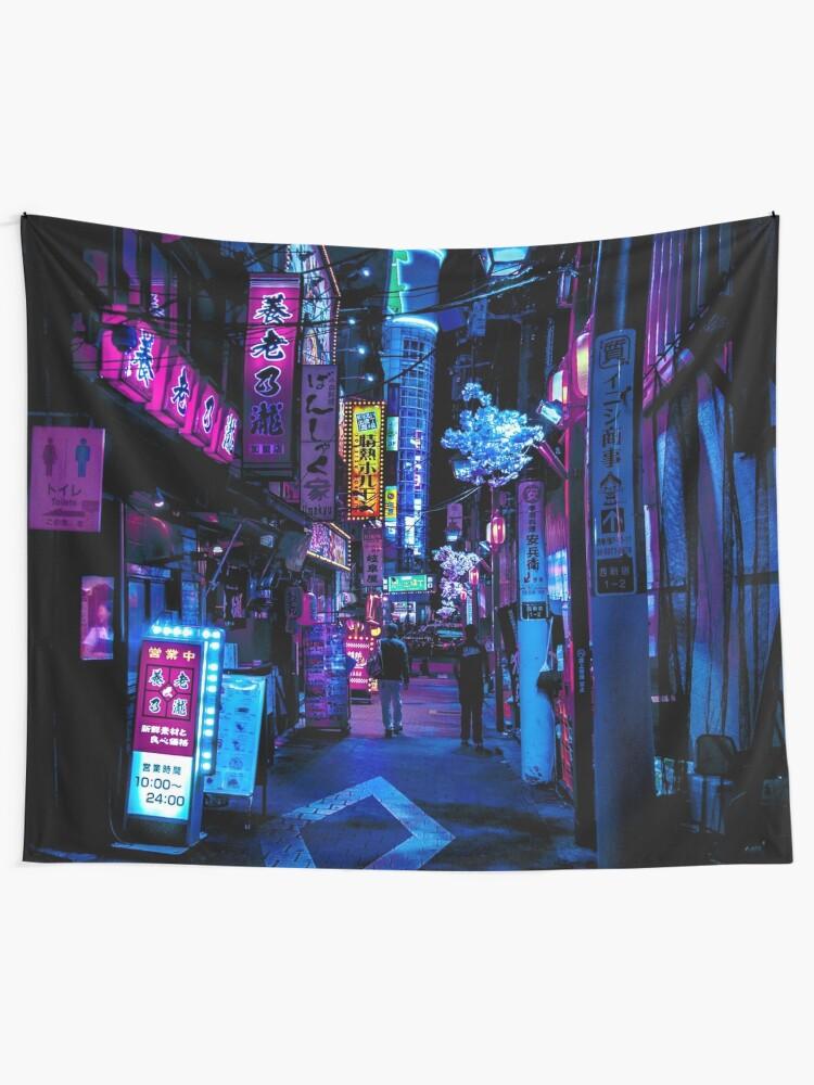 Alternate view of Blue Tokyo Alleys Tapestry