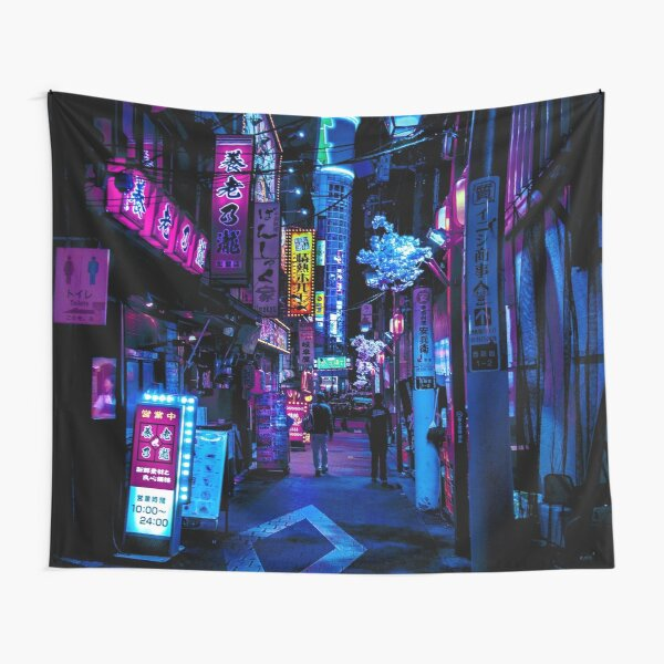 Blue Tokyo Alleys Tapestry