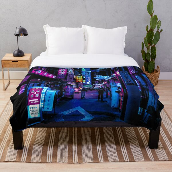 Blue Tokyo Alleys Throw Blanket