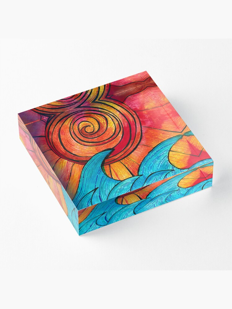 Alternate view of Sun Waves Summer Love Acrylic Block