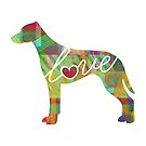 Rhodesian Ridgeback Love - A Bright and Colorful Watercolor Style Gift by traciwithani