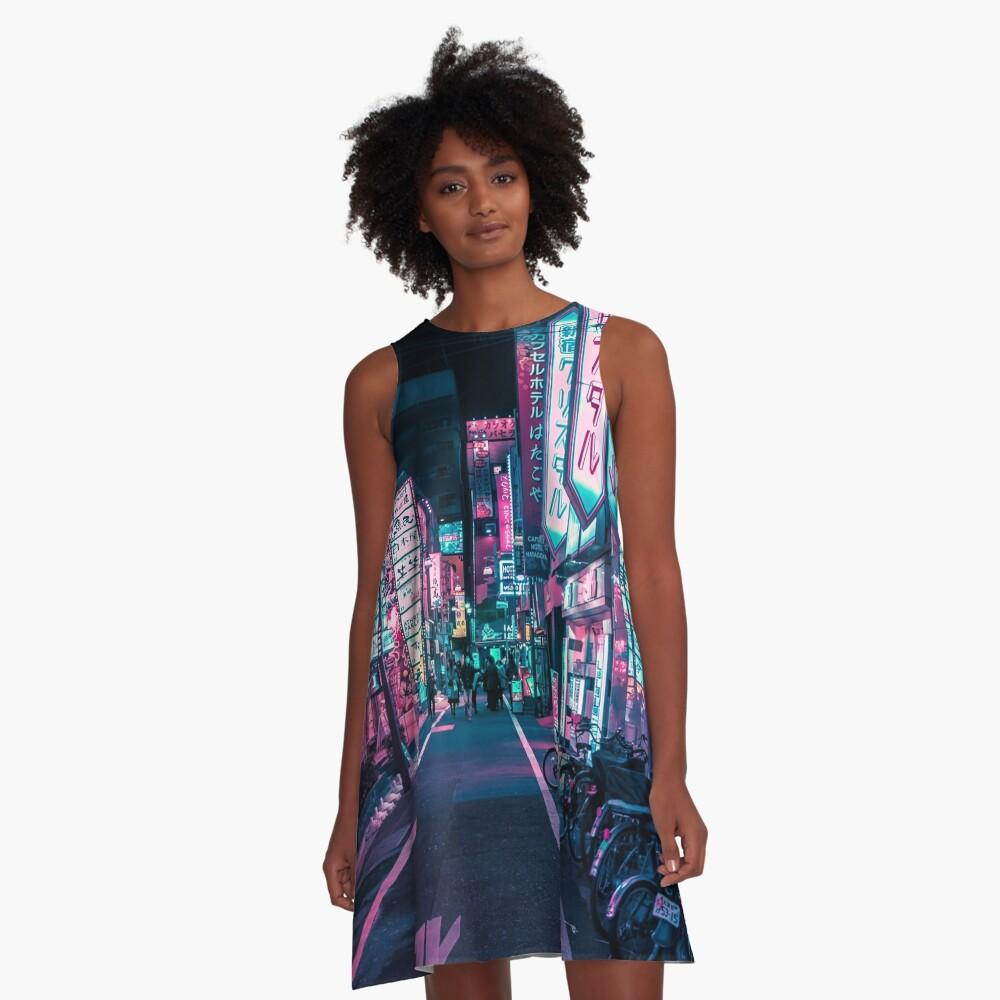Tokyo - A Neon Wonderland A-Line Dress
