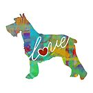 Schnauzer Love - A Bright and Colorful Watercolor Style Gift by traciwithani