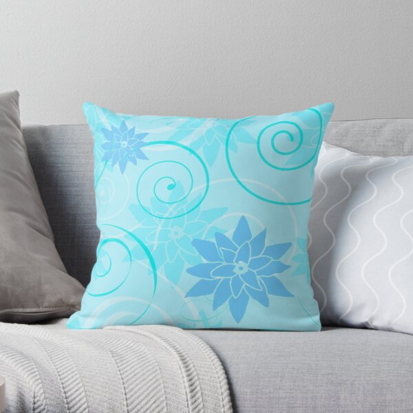 Blue Lotus Flowers with Turquoise Swirls Throw Pillow