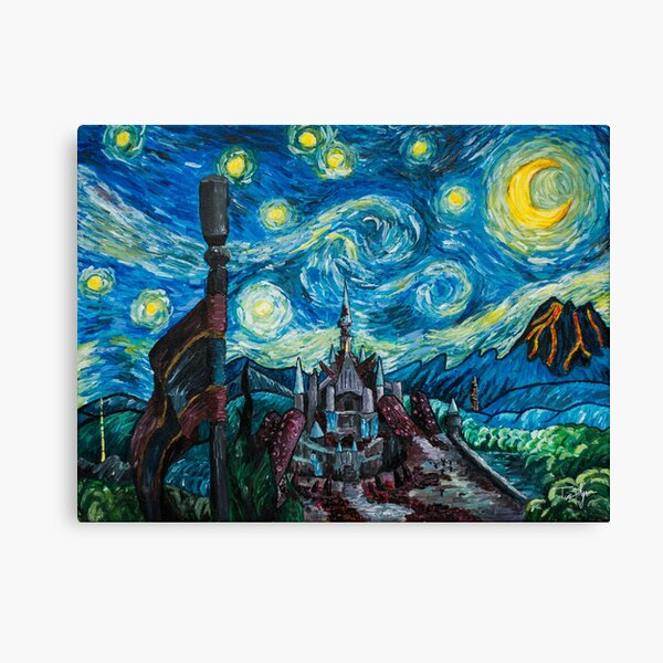Starry Night Over the Castle Canvas Print