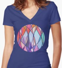 Purple & Peach Love - abstract painting in rainbow pastels Women's Fitted V-Neck T-Shirt