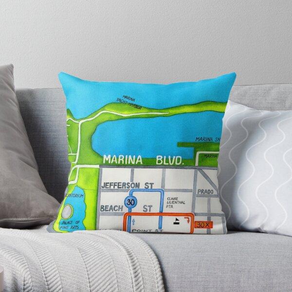San Francisco map - Marina Throw Pillow