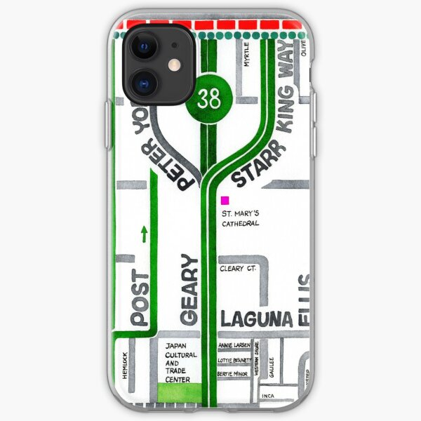 San Francisco map - Cathedral Hill / Japantown iPhone Soft Case