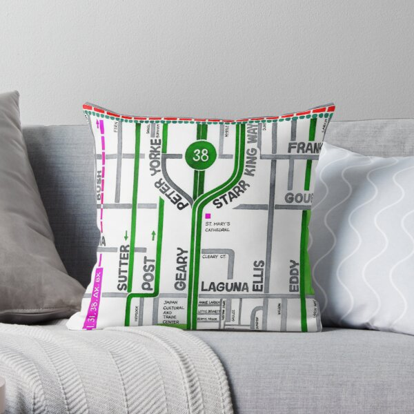San Francisco map - Cathedral Hill / Japantown Throw Pillow