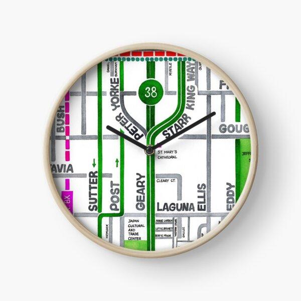 San Francisco map - Cathedral Hill / Japantown Clock