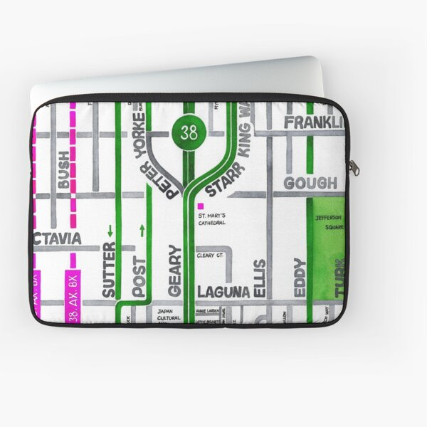 San Francisco map - Cathedral Hill / Japantown Laptop Sleeve