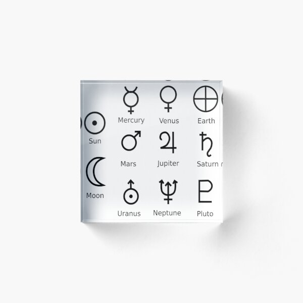 Astronomical Symbols: #Sun, #Mercury, #Venus, #Earth, Mars, Jupiter, Saturn, Uranus, Neptune, Pluto Acrylic Block