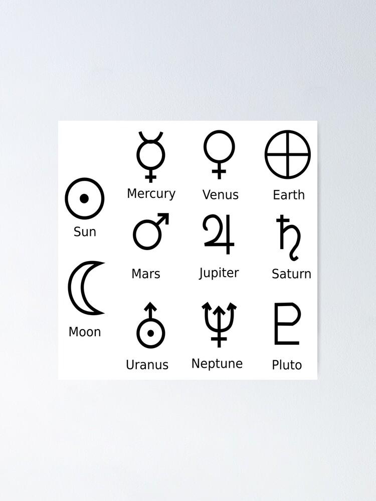 Alternate view of Astronomical Symbols: #Sun, #Mercury, #Venus, #Earth, Mars, Jupiter, Saturn, Uranus, Neptune, Pluto Poster