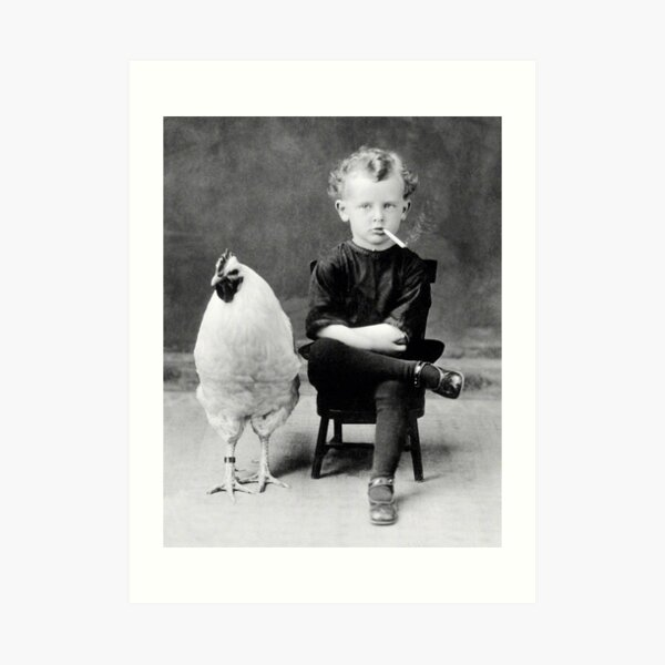 Boy With Chicken Rooster Smoking Cigarette Art Print