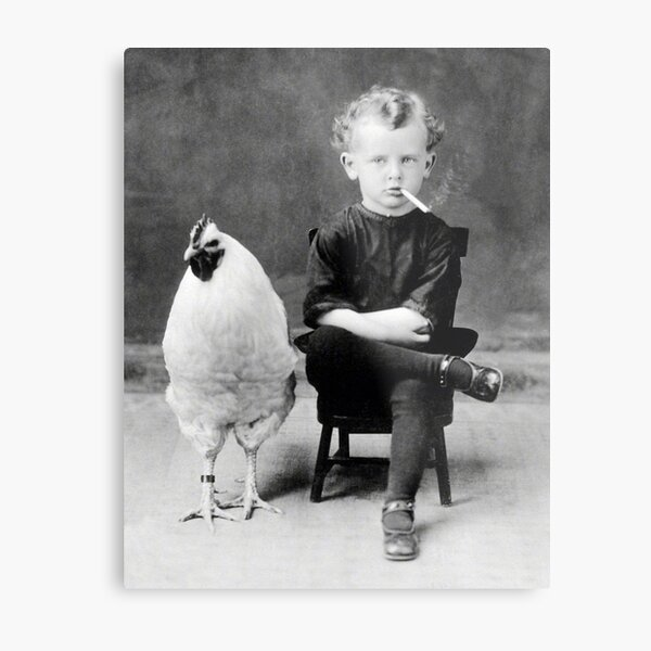 Boy With Chicken Rooster Smoking Cigarette Metal Print