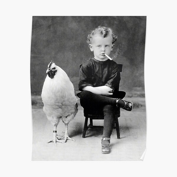Boy With Chicken Rooster Smoking Cigarette Poster