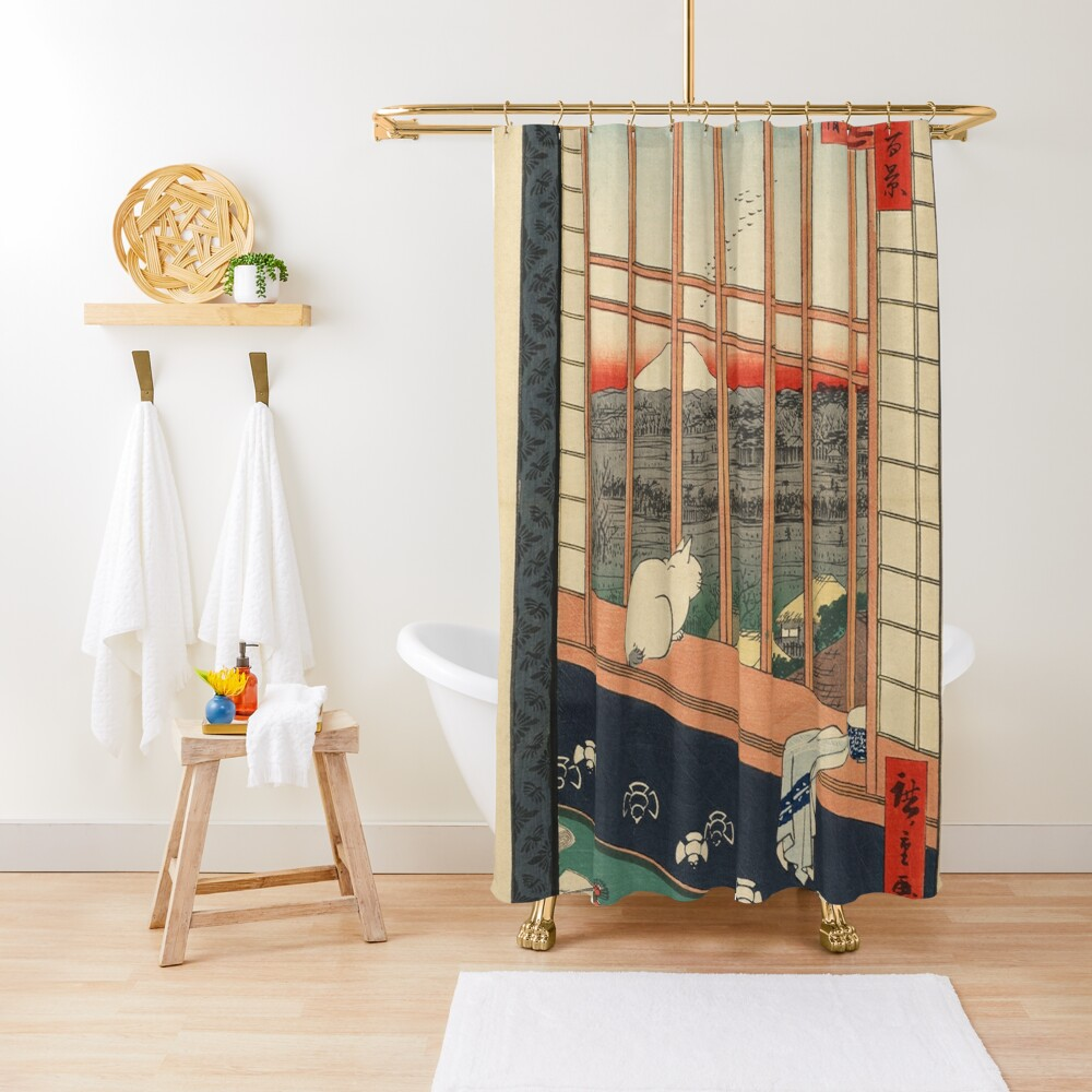 Ricefields And Torinomachi Festival 100 Famous Views Of Edo By Hiroshige Utagawa  Shower Curtain