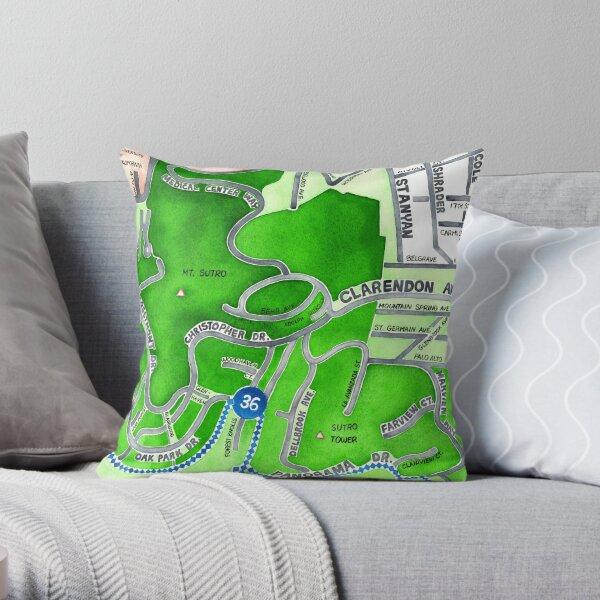 San Francisco map - Mt. Sutro Throw Pillow