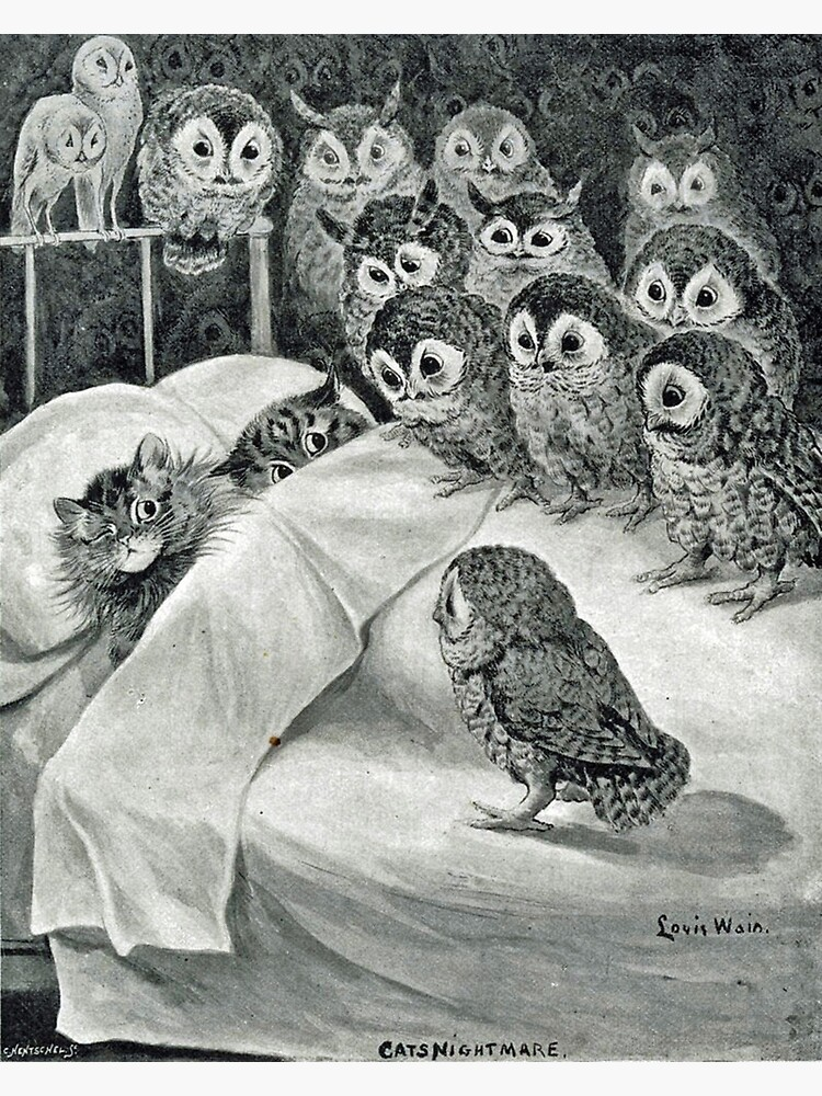 Louis Wain Cat Nightmare Owl Bird by historicalstuff