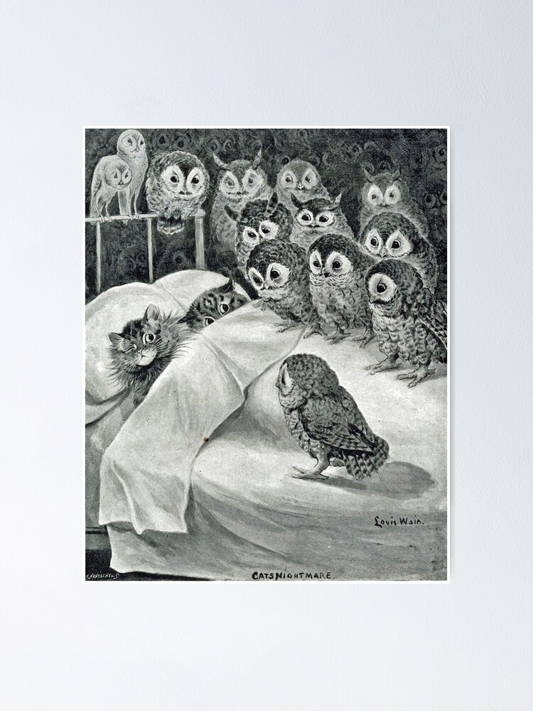 Alternate view of Louis Wain Cat Nightmare Owl Bird Poster