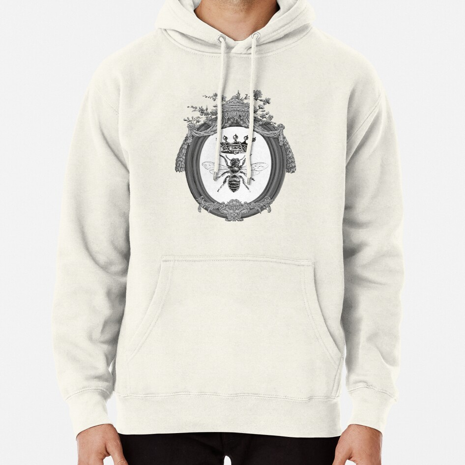 Queen Bee | Vintage Honey Bees | Black, White and Grey  |  Pullover Hoodie