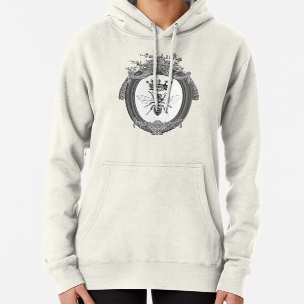Queen Bee   Vintage Honey Bees   Black, White and Grey     Pullover Hoodie