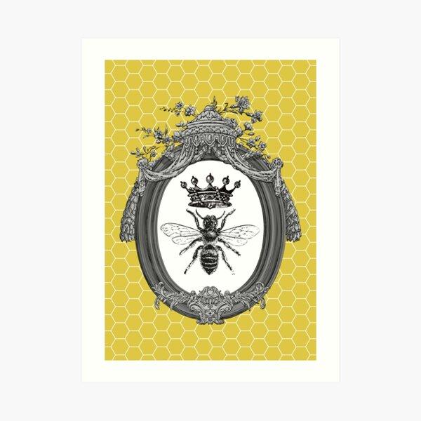 Queen Bee | Vintage Honey Bees | Honeycomb Patterns |  Art Print