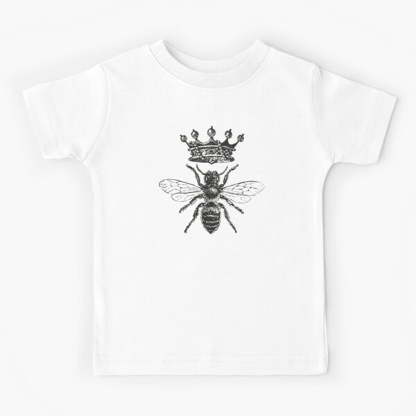 Queen Bee | Vintage Honey Bees | Black and White |  Kids T-Shirt