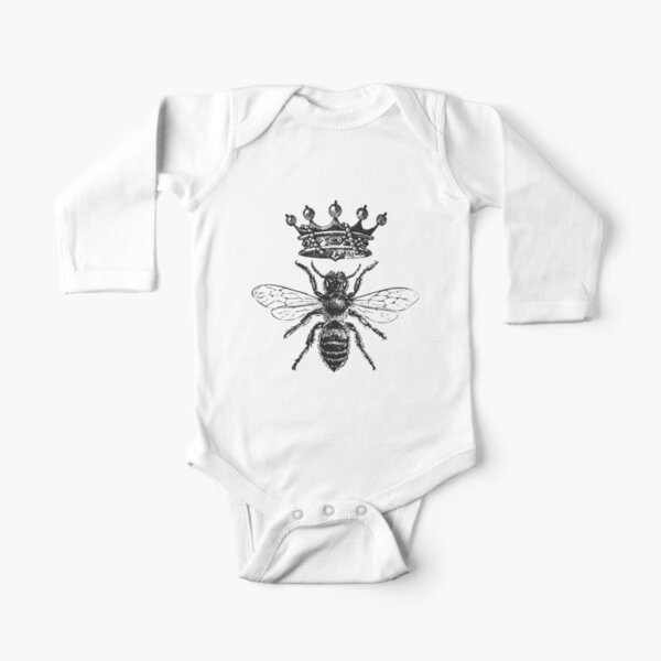 Queen Bee | Vintage Honey Bees | Black and White |  Long Sleeve Baby One-Piece