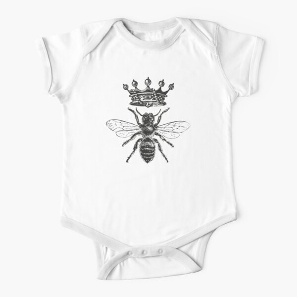 Queen Bee | Vintage Honey Bees | Black and White |  Short Sleeve Baby One-Piece