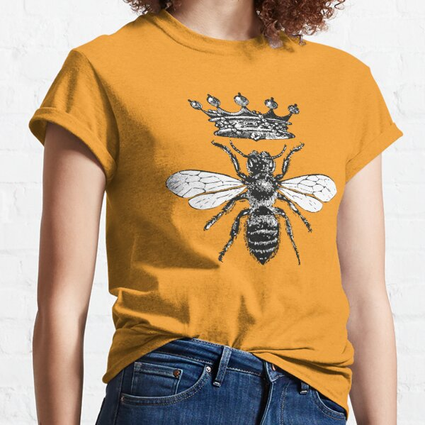 Queen Bee | Vintage Honey Bees | Black and White |  Classic T-Shirt