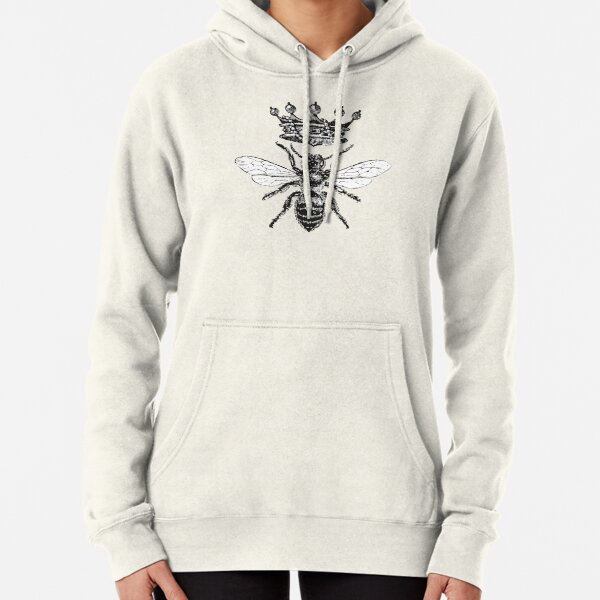 Queen Bee   Vintage Honey Bees   Black and White    Pullover Hoodie