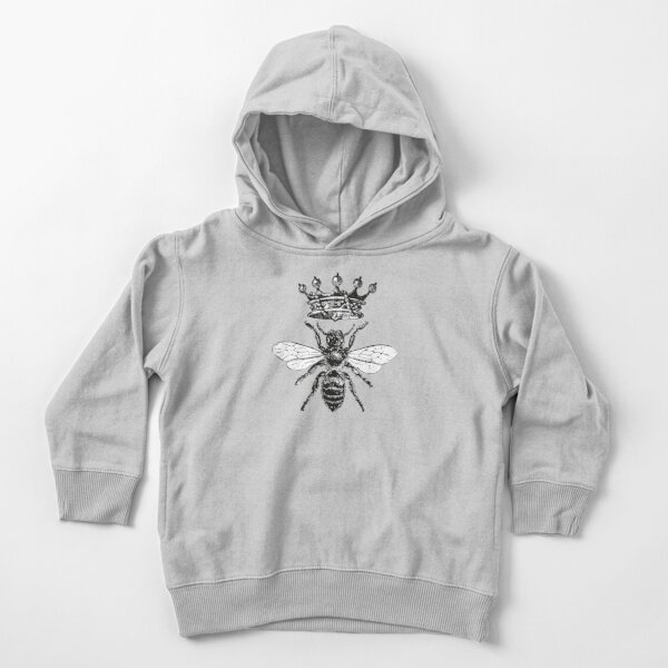 Queen Bee | Vintage Honey Bees | Black and White |  Toddler Pullover Hoodie