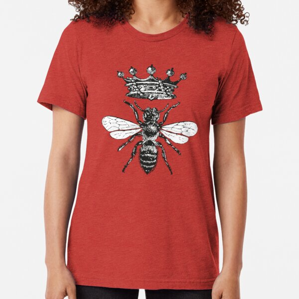 Queen Bee | Vintage Honey Bees | Black and White |  Tri-blend T-Shirt