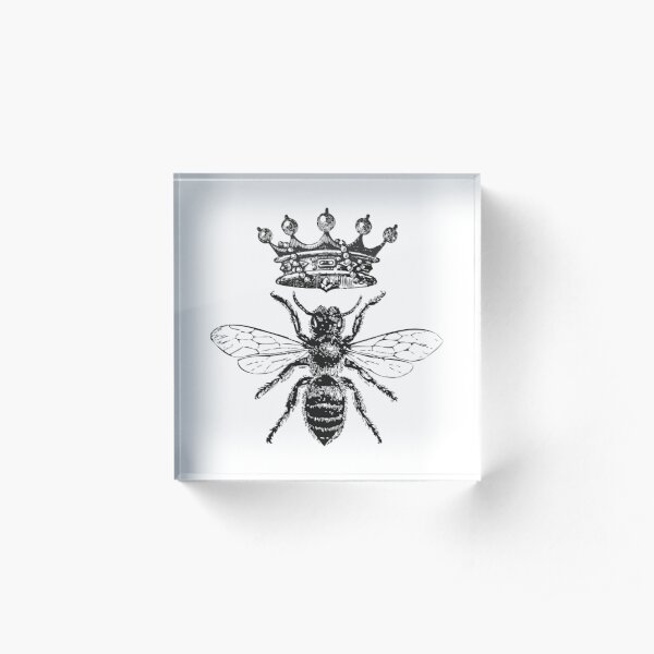 Queen Bee | Vintage Honey Bees | Black and White |  Acrylic Block