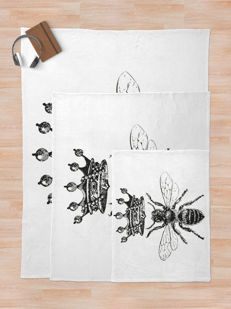 Alternate view of Queen Bee | Vintage Honey Bees | Black and White |  Throw Blanket